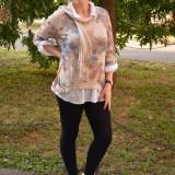 Bluza chic, bej, de marime universala, cu croiala asimetrica (Culoare: BEJ, Marime: 48)
