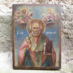Icoana veche Sfantul Nicolae, pictata pe lemn, datata 1897 - Icoana pe lemn