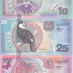 Bancnota Suriname 10, 25 si 100 Gulden 2000 - P147-149 UNC ( set 3 bancnote ) - bancnota america