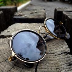 Ochelari De Soare Unisex - Retro Style / Rama Metalica - Negri