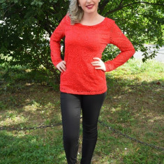 Bluza din dantela, nuanta de rosu, disponibila in marimi universale (Culoare: ROSU, Marime: 36) - Bluza dama