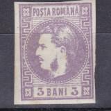 1870 - Carol I - cu Favoriti - 3 bani violet- nestampilat, Regi