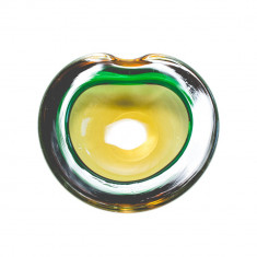 Spectaculos bol Murano verde-brun, anii '50 - Bol sticla