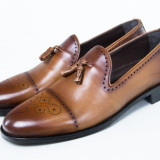 Pantofi barbati piele Loafer TOP Luxury maro New Collection - Pantof barbat, Marime: 41-42