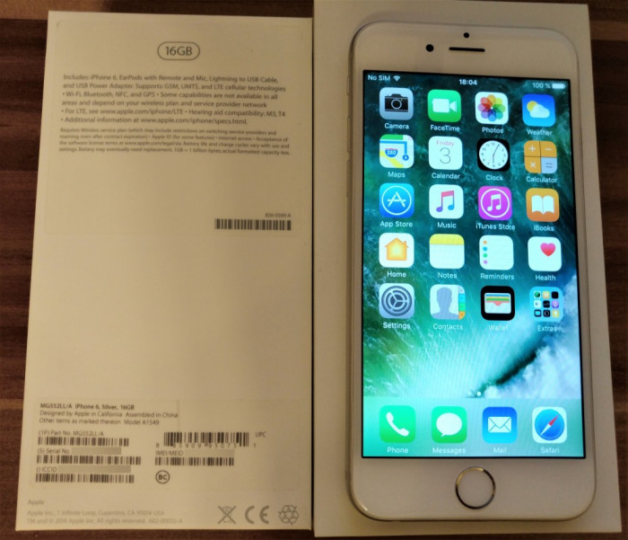 iPhone 6 16GB Silver [Impecabil] foto mare