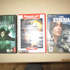 3 Jocuri PC Altele Originale Matrix Path of Neo, Alone in the Dark si Syberia., Actiune, 12+