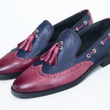 Pantofi piele Loafer bleumarin-bordo New Collection - Pantof barbat, Marime: 41-42, Culoare: Burgundy