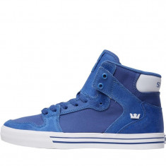 Adidasi Supra Mens Vaider Hi-Tops marimea 42 si 43 - Adidasi barbati Supra, Culoare: Albastru, Piele intoarsa