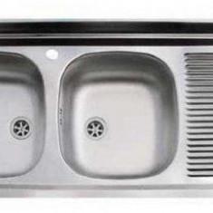 Chiuveta bucatarie inox dekor ZAL 721-S Franke, pentru masca, 2 cuve, picurator dreapta, 1200x500mm, bordura perete 60mm, ventil 2