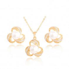 Set perle si cristale placat cu aur 18k