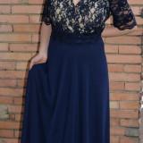 Rochie de seara lunga, masura mare, din voal si dantela bleumarin (Culoare: BLEUMARIN-BEJ, Marime: 52)