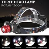 Lanterna frontala de cap 3 LED XML T6 + 2COB
