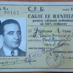 CFR, Permis calatorie, 1943 si carte de vizita a ziaristului Grigorescu Mircea - Autograf