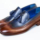 Pantofi barbati Loafer piele Luxury maro-bleumarin New Collection - Pantof barbat, Marime: 41-42