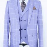Sacou si vesta carouri bleu PerfectFit New Collection - Sacou barbati, Marime: 48