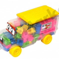 Camion cu cuburi de constructie - o multime de culori ! - Jucarie pentru patut