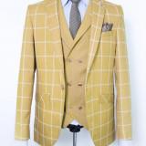 Sacou si vesta carouri galben PerfectFit New Collection - Sacou barbati, Marime: 48
