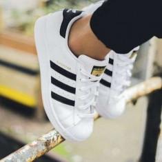 Adidasi Adidas Superstar Dama Barbati Unisex - Adidasi dama, Culoare: Alb, Negru, Marime: 36, 37, 38, 39, 40, 41, 42, 43, 44, Piele sintetica