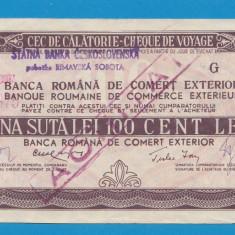 Bon 100 lei Cec de Calatorie Cheque de Voyage 7 - Bancnota romaneasca
