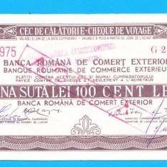 Bon 100 lei Cec de Calatorie Cheque de Voyage 3 - Bancnota romaneasca