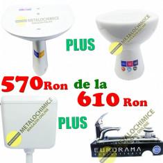 Set ceramica baie, Lavoar cu Picior (Chiuveta) Vas wc, Bazin wc, Baterie Eurorama - Set mobilier baie