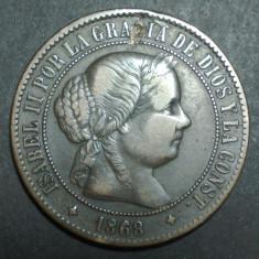 Spania 5 centimos 1868, Europa