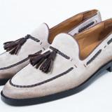 Pantofi barbati piele Loafer Piele intoarasa TOP Luxury bej New Collection