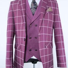 Sacou si vesta carouri bordo PerfectFit New Collection - Sacou barbati, Marime: 48, Culoare: Burgundy
