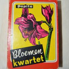 Joc de carti cvartet cu flori, anii '50, vechi, vintage, Olanda, cutie, Papita