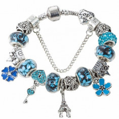 BRATARA CHARM TIP PANDORA SILVER BLUE PARIS -SUPERB-MODEL 2017-13 CHARM-URI !!