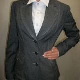 Costum de toamna, clasic, cu pantaloni, nuante de gri (Culoare: GRI, Marime: 38)