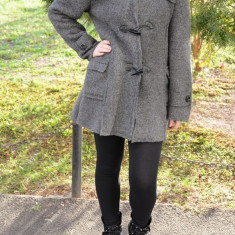 Jachete de toamna-iarna, gri, calduroase, cu nasturi (Culoare: GRI, Marime: XXXL-46) - Jacheta dama