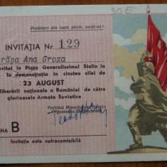 Invitatia nr. 129, Ana Groza, Piata Generalissimul Stalin ; 23 August - Autograf