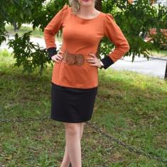 Rochie de zi, moderna, portocalie, cu o curea lata maro (Culoare: PORTOCALIU, Marime: 36), Orange, Lunga, Vascoza