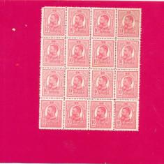 RO-0030-ROMANIA 1903-CarolI, Val de 5 bani rosu in bloc de 16, MNH - Timbre Romania, Nestampilat