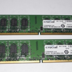 Kit 2 x 2 Gb Ram DDR2 / 667 Mhz / Crucial Dual chanell (T12.1) - Memorie RAM Crucial, 4 GB, Dual channel