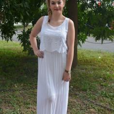 Rochie alba, model lung, din material subtire perfecta de vara (Culoare: ALB, Marime: 50) - Rochie de zi, Fara maneca, Bumbac