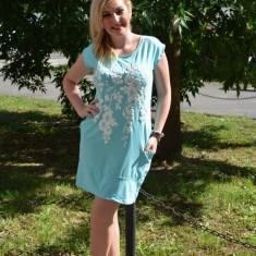 Rochie mini, din bumbac, de culoare albastra cu manseta lata (Culoare: ALBASTRU, Marime: 40) - Rochie de zi, Scurta