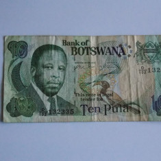 Bancnota 10 pula Botswana circulata - bancnota africa