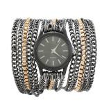 Cumpara ieftin NOU Ceas de dama elegant fashion negru auriu cu curea metalica tip lant GENEVA