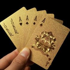 NOU! Carti de joc foita AUR 24K + certificat de autenticitate . poker - Carti poker