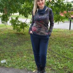 Pantalon tineresc din bumbac, bleumarin cu model negru, tip sport (Culoare: BLEUMARIN, Marime: 38) - Pantaloni dama
