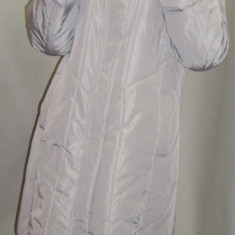 Jacheta dama de toamna-iarna, gri cu gluga si blanita (Culoare: GRI, Marime: XXL-44)