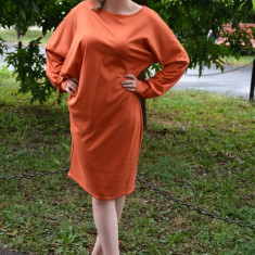 Rochie de zi, cu maneci lungi stramte la incheieturi, portocalie (Culoare: PORTOCALIU, Marime: 48), Orange, Lunga, Poliester