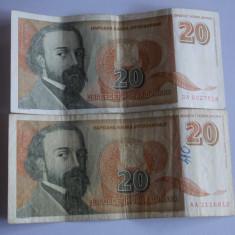 Bancnota 20 dinari 1994 Iugoslavia - bancnota africa