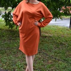 Rochie de zi, cu maneci lungi stramte la incheieturi, portocalie (Culoare: PORTOCALIU, Marime: 42), Orange, Lunga, Poliester