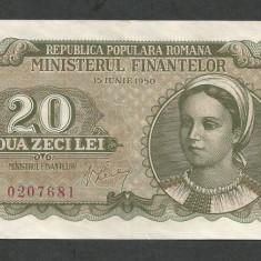 ROMANIA 20 LEI 1950, XF++ a UNC [1] P-84a - Bancnota romaneasca