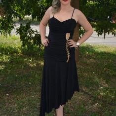 Rochie de seara, simpla, de culoare neagra (Culoare: NEGRU, Marime: 38), Maxi, Cu bretele