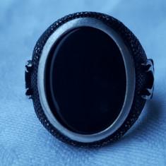 Inel argint cu ONIX ornat cu 2 Sabii SPLENDID vintage SUPERB vintage de Efect