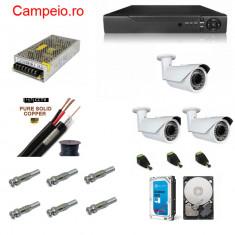 Kit complet supraveghere Peyo AHD 3 camere rezolutie HD 1080p si infrarosu la 60 m, HDD 1 TB, cablu 30m, mufe, vizualizare pe telefon, acces internet - Modul